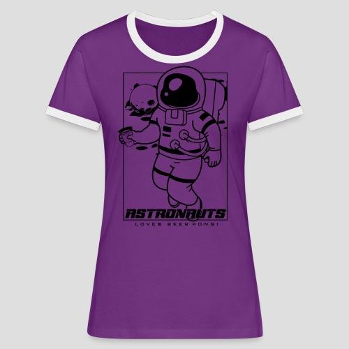Astronauts loves Beerpong - Frauen Kontrast-T-Shirt