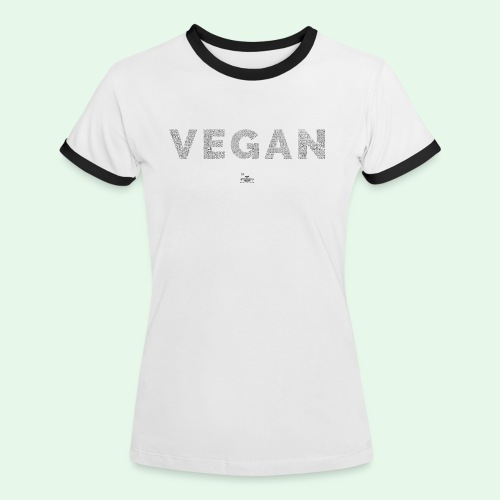 Vegan - Black - Kontrast-T-shirt dam