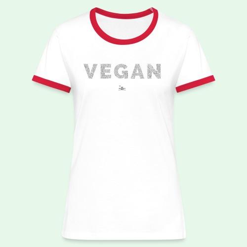 Vegan - Black - Kontrast-T-shirt dam