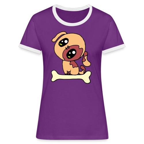 Kawaii le chien mignon - T-shirt contrasté Femme