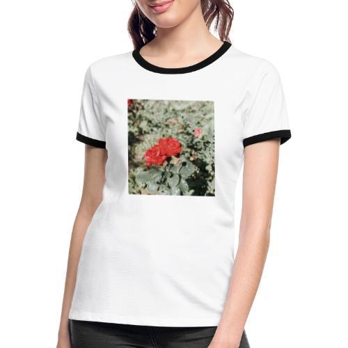 Red rose - Dame kontrast-T-shirt