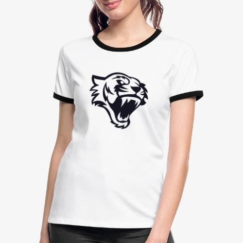 Tete tigre 300dpi noir - T-shirt contrasté Femme