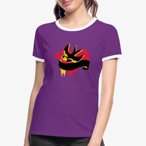 retro tattoo bird with heart - Women's Ringer T-Shirt