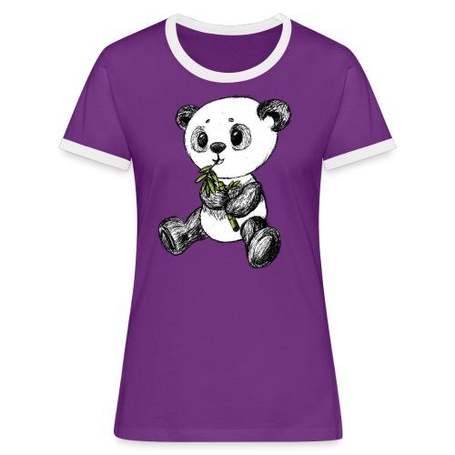 Panda bjørn farvet scribblesirii - Dame kontrast-T-shirt