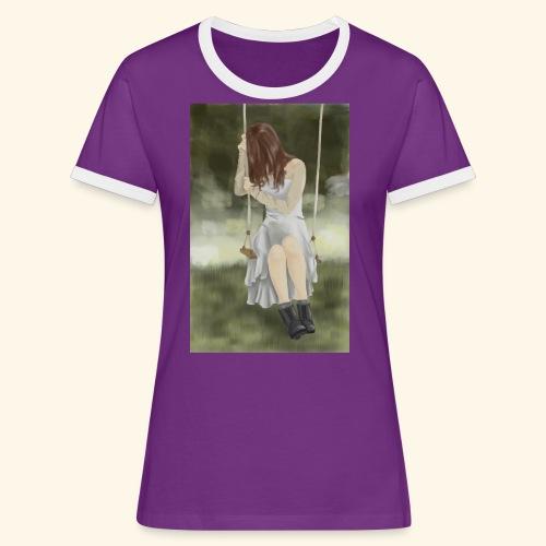 Sad Girl on Swing - Women's Ringer T-Shirt