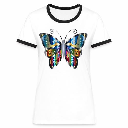 butterfly - Koszulka damska z kontrastowymi wstawkami