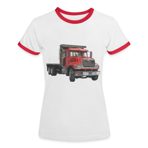 Flat Truck 3-axle - Red - Women's Ringer T-Shirt