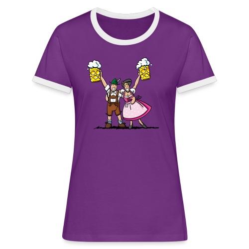 Fröhliches Oktoberfest Paar mit Bierkrug - Frauen Kontrast-T-Shirt