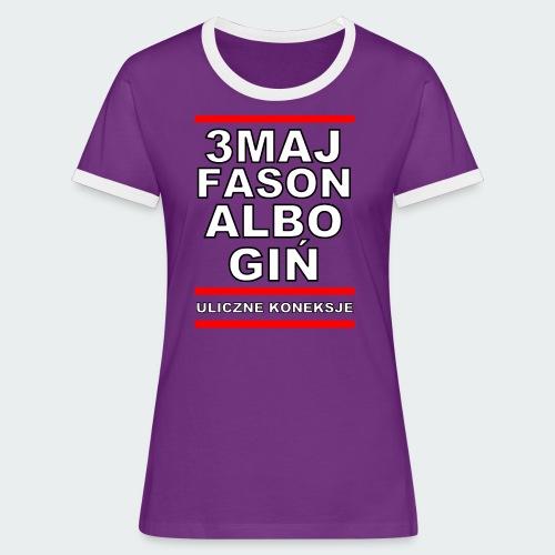 Koszulka Damska Premium 3MajFason - Koszulka damska z kontrastowymi wstawkami