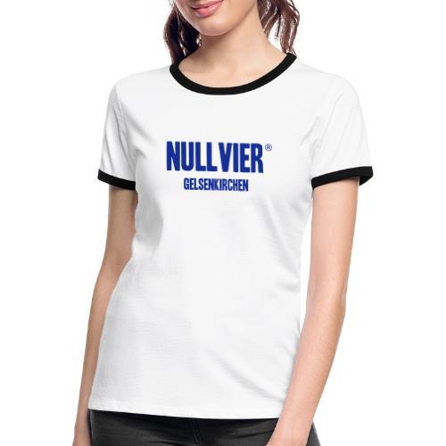 NULLVIER BLUE - Frauen Kontrast-T-Shirt