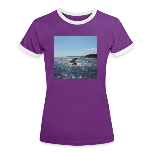 Mer avec roches - T-shirt contrasté Femme