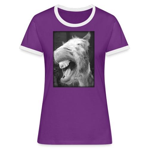 lachender Esel - Frauen Kontrast-T-Shirt