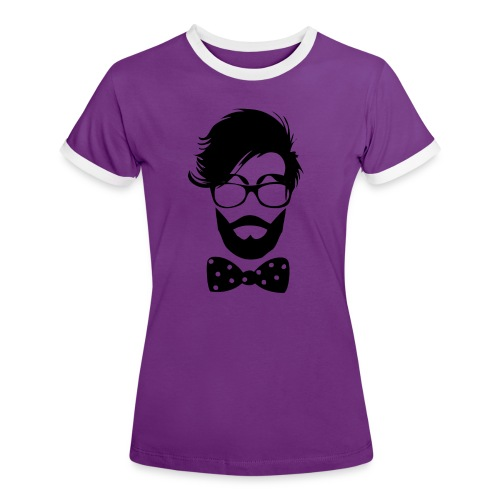 hipster_med_briller_og_butterfly - Dame kontrast-T-shirt