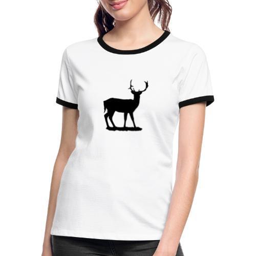 Silueta ciervo en negro - Camiseta contraste mujer