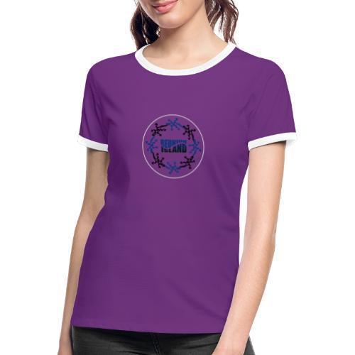 Badge Reunion Island Bleu - T-shirt contrasté Femme