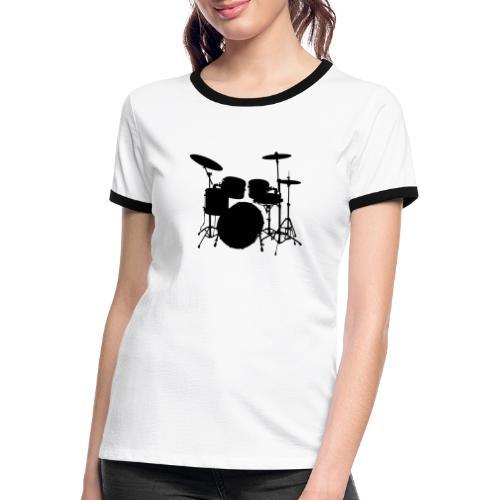 Bateria negro drums - Camiseta contraste mujer
