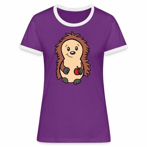 Igel mit Apfel in der Hand - Frauen Kontrast-T-Shirt