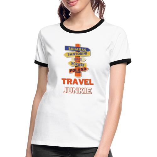 traveljunkie - i like to travel - Frauen Kontrast-T-Shirt