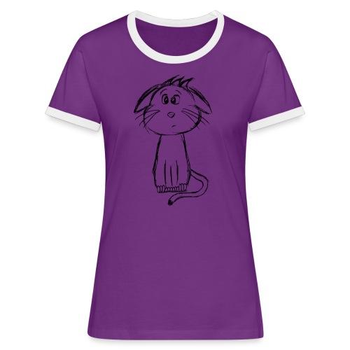 Kissa Kissanpentu musta scribblesirii - Naisten kontrastipaita