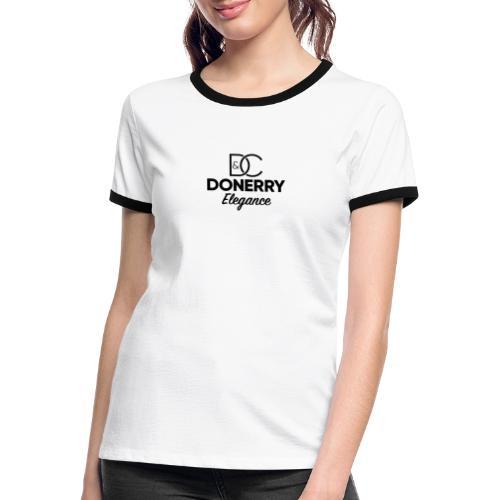 Donerry Elegance Black Logo on White - Women's Ringer T-Shirt