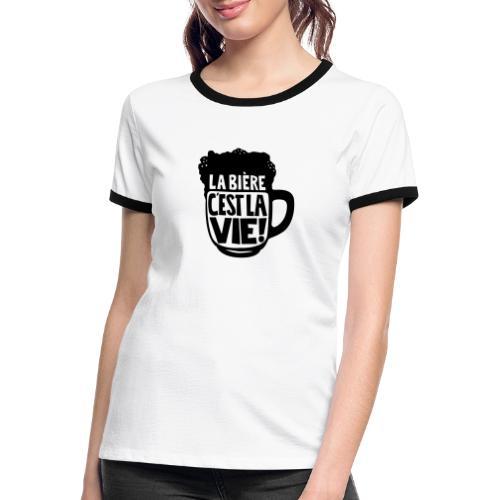 bière, la bière c'est la vie - T-shirt contrasté Femme