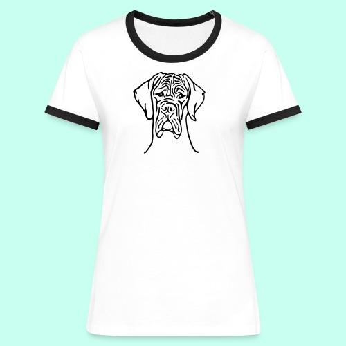Strichdogge Kopf einfarb - Frauen Kontrast-T-Shirt