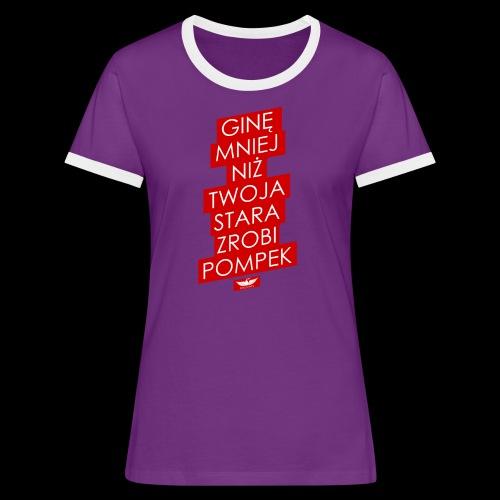 gine mniej - Koszulka damska z kontrastowymi wstawkami