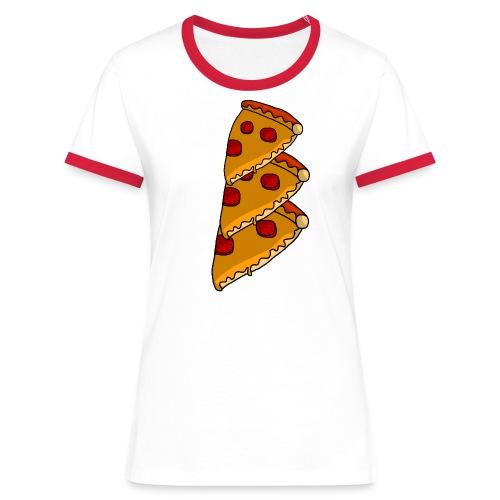pizza - Dame kontrast-T-shirt