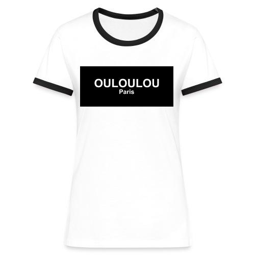 ouloulou ecriture blanc 01 jpg - T-shirt contrasté Femme