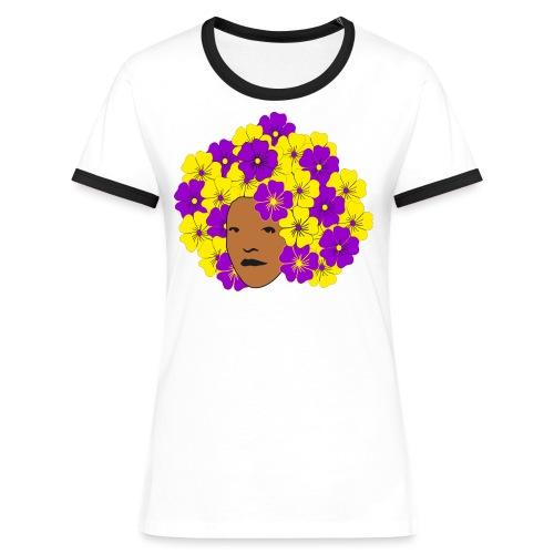 Flowery Summery Afro - Women's Ringer T-Shirt