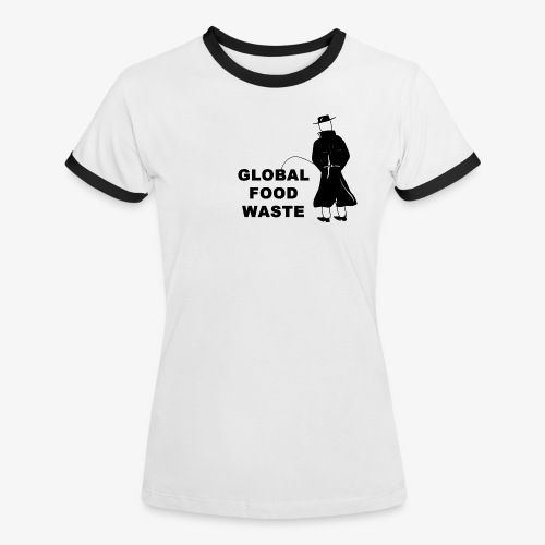 Pissing Man against Global Food Waste - Frauen Kontrast-T-Shirt