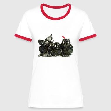 three young crows - Koszulka damska z kontrastowymi wstawkami