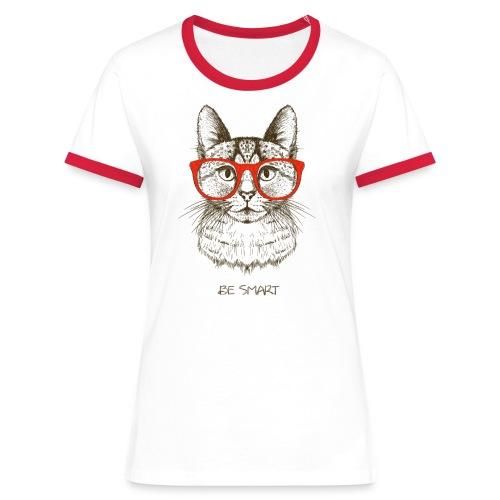 Vorschau: Cat Hipster - Frauen Kontrast-T-Shirt