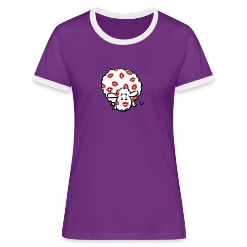 Kuss Mutterschaf - Frauen Kontrast-T-Shirt