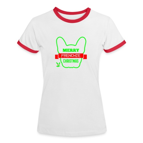 Frenchie Xmas 1 - Frauen Kontrast-T-Shirt