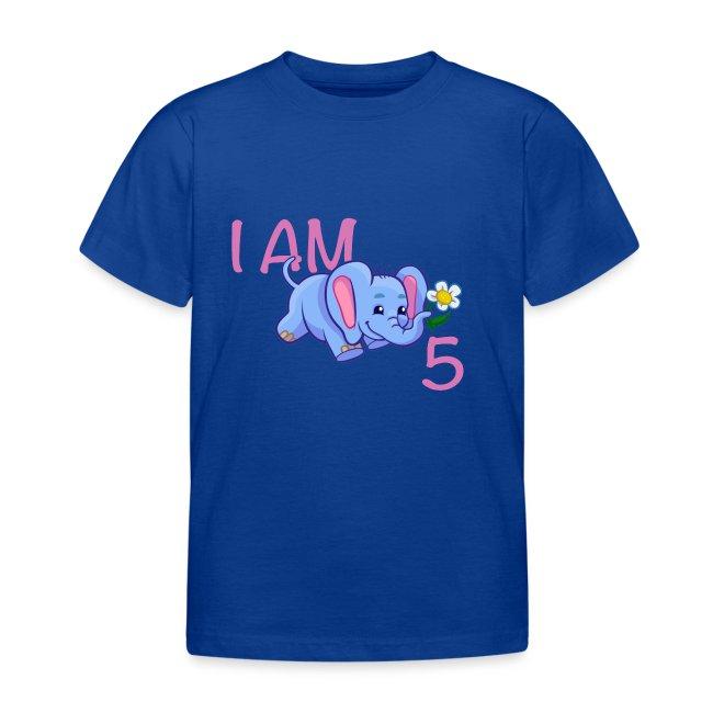 I am 5 - elephant pink