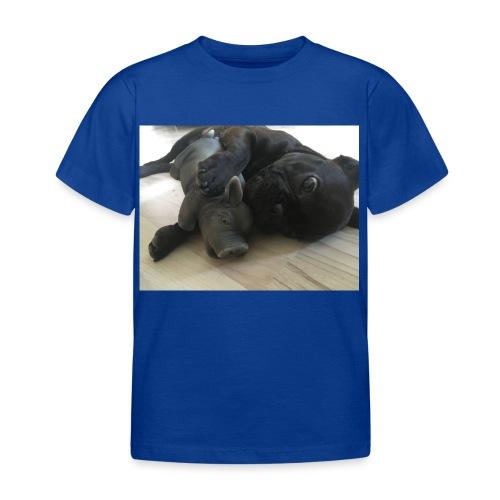 kuschelnder Hund - Kinder T-Shirt