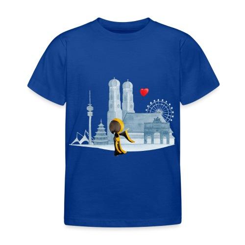 Skyline München mit Münchner Kindl und Herz - Kinder T-Shirt