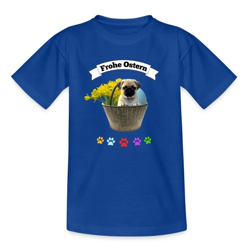 Frohe Ostern | Mops im Korb - Kinder T-Shirt