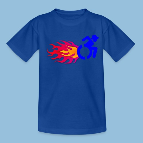Wheelchair with flames 012 - Kinderen T-shirt