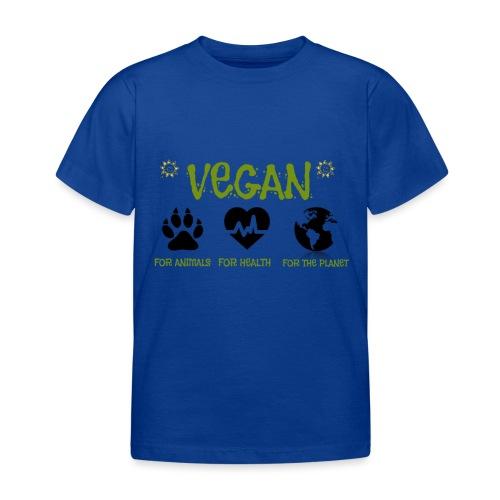 Vegan for animals, health and the environment. - Camiseta niño