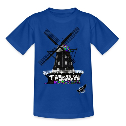 Windmill by BlackenedMoonArts, with logo - Børne-T-shirt