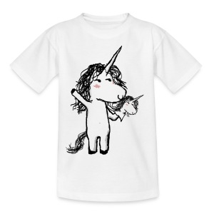 Unicorn with his happy friend - Kids' T-Shirt