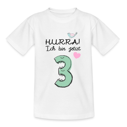 Hurra ich bin jetzt 3 / Geschenk zum 3. Geburtstag - Kinder T-Shirt