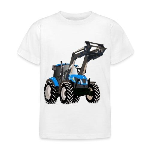 Blauer Traktor mit Frontlader - Kinder T-Shirt