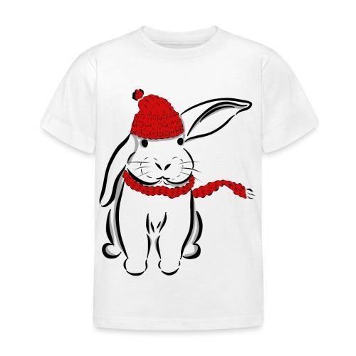 Kaninchen Hase Mütze Schal Schlappohr Schneehase - Kinder T-Shirt