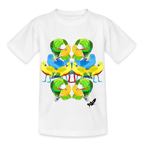 Birds Exotique by BlackenedMoonArts, w. logo - Børne-T-shirt