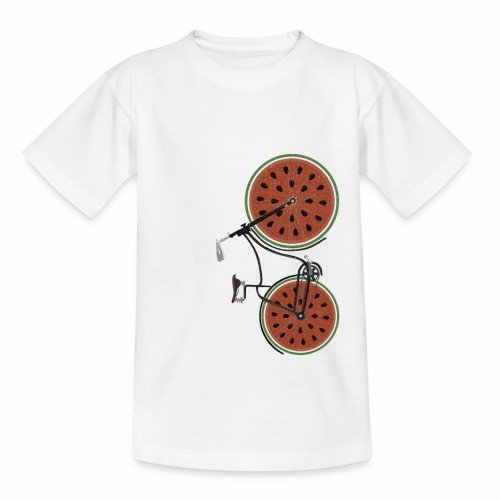 Retro Fahrrad mit Melonen Rädern - Kinder T-Shirt