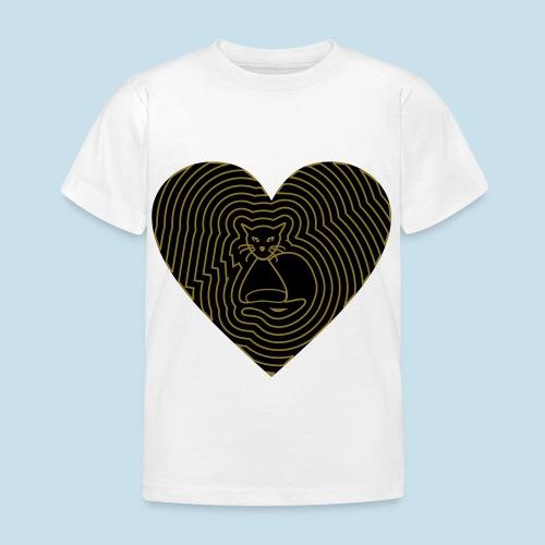 Katzen Herz Spirale 2 Färbig - Kinder T-Shirt