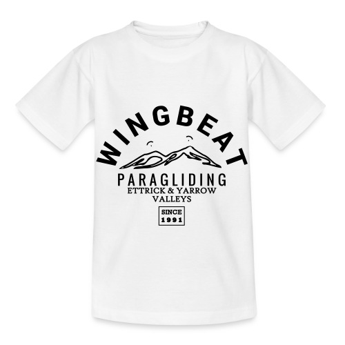 wingbeat logo - big - on back - in white - Kids' T-Shirt